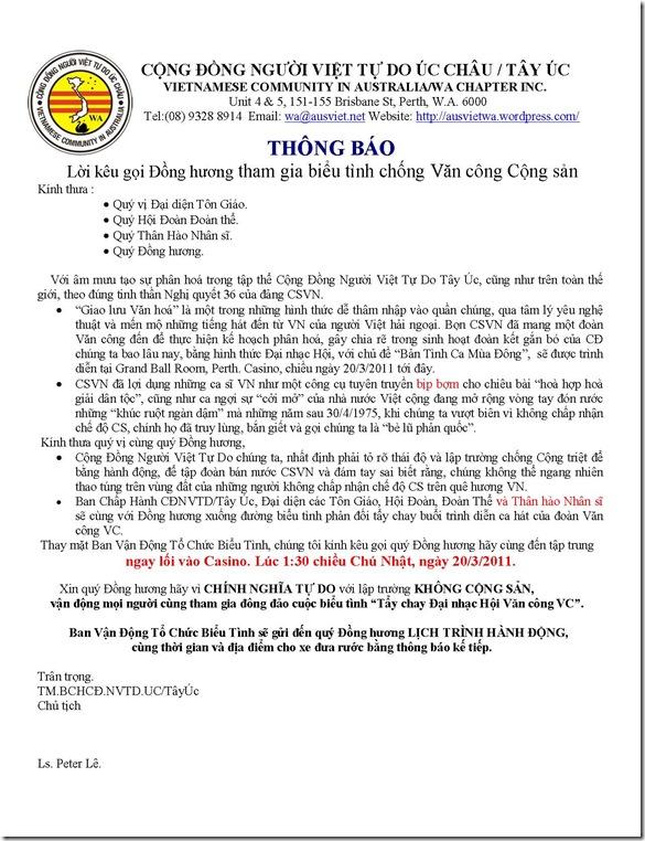 CĐ NVTDUC WA Thong Bao Bieu Tinh 20 march 2011